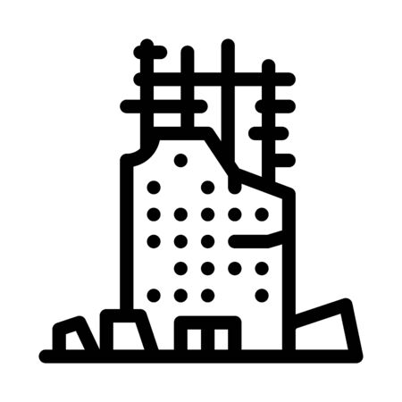 collapse of house to initial foundation icon vector. collapse of house to initial foundation sign. isolated contour symbol illustration