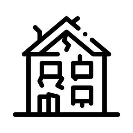 collapse of old house icon vector. collapse of old house sign. isolated contour symbol illustration Ilustrace