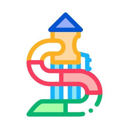 kids slide water park icon vector. kids slide water park sign. color symbol illustration Illustration