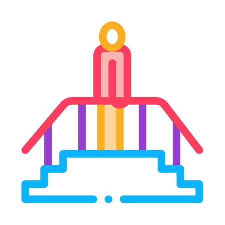 man on stairwell icon vector. man on stairwell sign. color symbol illustration