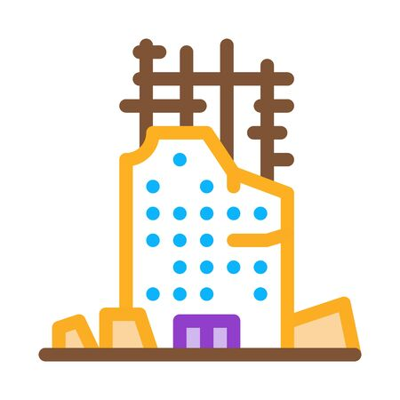 collapse of house to initial foundation icon vector. collapse of house to initial foundation sign. color symbol illustration Vektorgrafik
