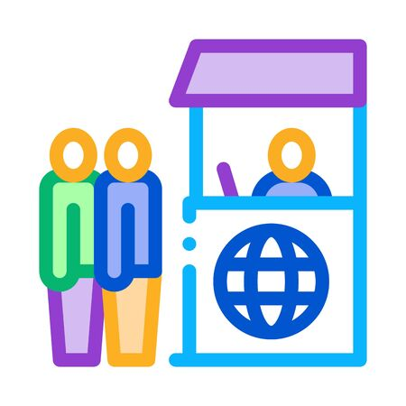 people on check control icon vector. people on check control sign. isolated contour symbol illustration