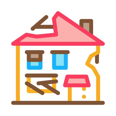 ruined house icon vector. ruined house sign. color symbol illustration