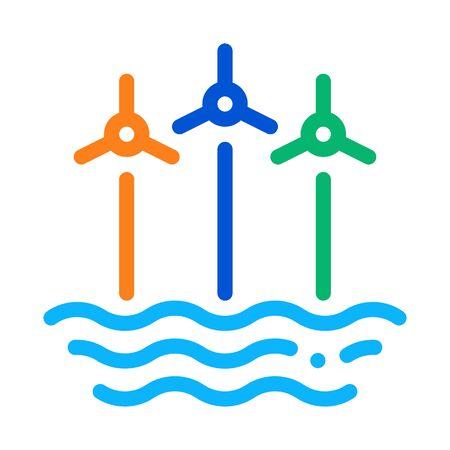wind energy technology among sea icon vector. wind energy technology among sea sign. color symbol illustration Illustration