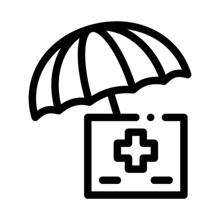 medical care under umbrella icon vector. medical care under umbrella sign. isolated contour symbol illustration Illustration