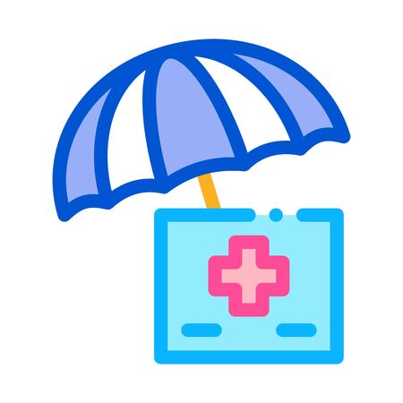 medical care under umbrella icon vector. medical care under umbrella sign. color symbol illustration Illustration