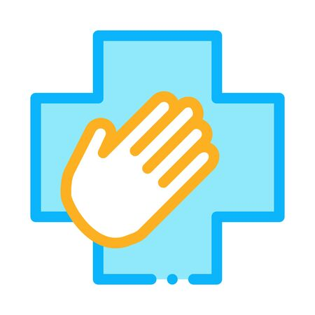 medical helping hand icon vector. medical helping hand sign. color symbol illustration