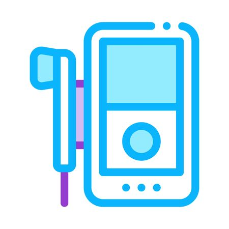 listening to music through player icon vector. listening to music through player sign. color symbol illustration Ilustrace