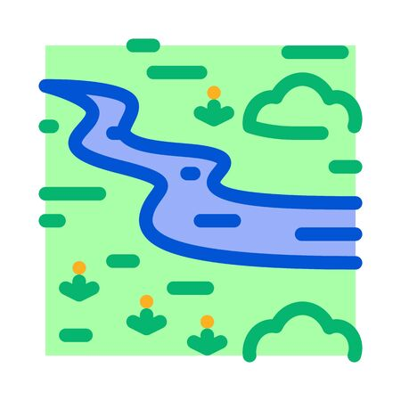 river landscape among meadow icon vector. river landscape among meadow sign. color symbol illustration