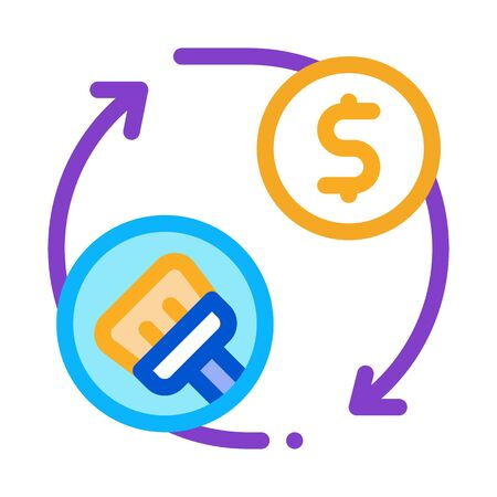 cleaning cycle and money icon vector. cleaning cycle and money sign. color symbol illustration
