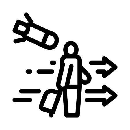 migratory man tourist icon vector. migratory man tourist sign. isolated contour symbol illustration
