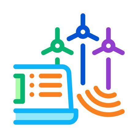 management of wind energy technicians icon vector. management of wind energy technicians sign. color symbol illustration Illustration