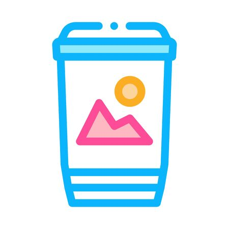 printed paper cup label icon vector. printed paper cup label sign. color symbol illustration