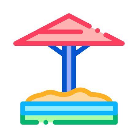 sandbox with protective umbrella icon vector. sandbox with protective umbrella sign. color symbol illustration Illustration