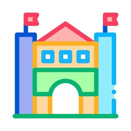 castle amusement park icon vector. castle amusement park sign. color symbol illustration Illustration
