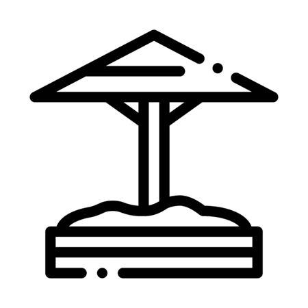 sandbox with protective umbrella icon vector. sandbox with protective umbrella sign. isolated contour symbol illustration