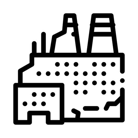 destroyed nuclear power plant icon vector. destroyed nuclear power plant sign. isolated contour symbol illustration Ilustrace