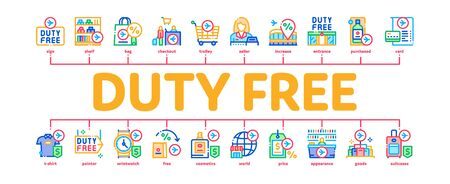 Duty Free Shop Store Minimal Infographic Web Banner Vector. Duty Free Nameplate And Product, Bag And Label, Perfume And T-shirt, Credit Card And Cart Illustration