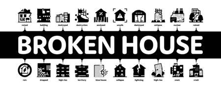 Vector de banner de Web de infografía mínima de edificio de casa rota. Edificio estrellado y abandonado, construcción y planta dañadas por demolición, Ilustración