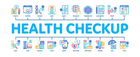 Health Checkup Medical Minimal Infographic Web Banner Vector. Healthcare Checkup List And Calendar Date, Fitness Tracker And Analysis Container Illustration