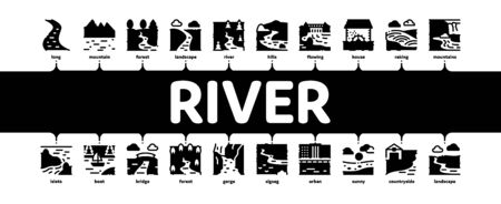 River Landscape Minimal Infographic Web Banner Vector. River With Mountain And Forest, Bridge And City Buildings, Water Mill And Field Illustration 일러스트