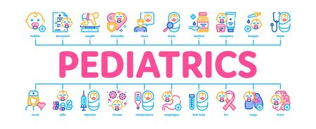 Pediatrics Medical Minimal Infographic Web Banner Vector. Child And Pediactrics Nurse, Baby On Electronic Scale And Healthcare Cream Illustration