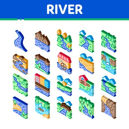 River Landscape Icons Set Vector. Isometric River With Mountain And Forest, Bridge And City Buildings, Water Mill And Field Illustrations