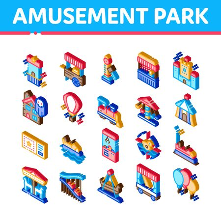 Amusement Park And Attraction Icons Set Vector. Isometric Castle And Train, Electrical Car And Boat, Ticket And Air Balloon Attraction Illustrations