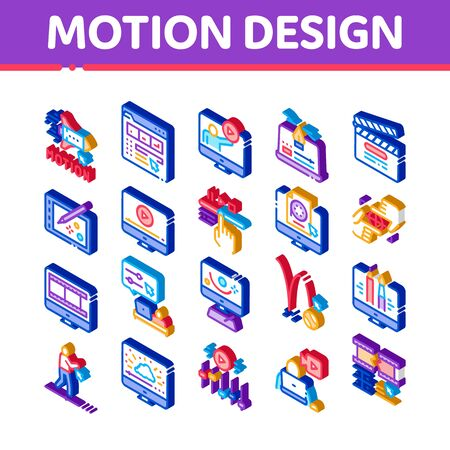 Motion Design Studio Icons Set Vector. Isometric Movie Motion Redactor Programme On Computer Screen And Video Player, Filmstrip And Clipboard Illustrations