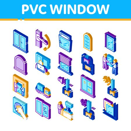Pvc Window Frames Icons Set Vector. Isometric Pvc Window Architectural Glass Building Detail And Handle, Carrying Truck And Jalousie Illustrations