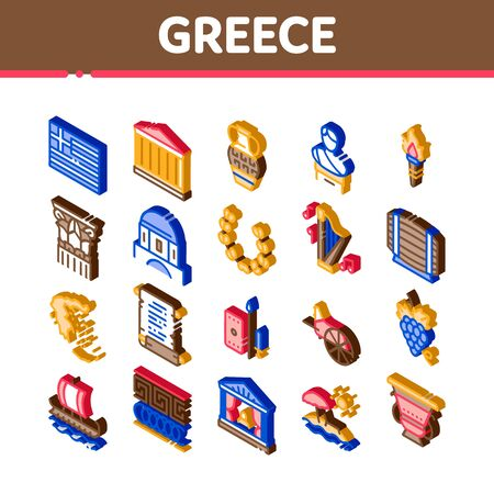 Greece Country History Icons Set Vector. Isometric Greece Flag And Antique Amphora, Building And Boat, Wine Barrel And Grape Illustrations