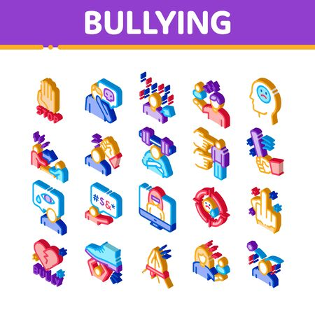 Bullying Aggression Icons Set Vector. Isometric Internet Bullying And Name-calling, Beating And Showing Indecent Gesture Illustrations