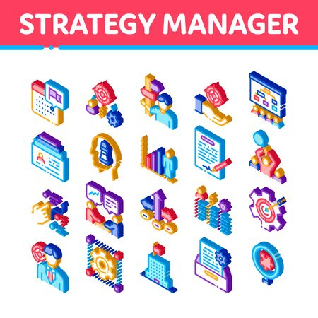 Strategy Manager Job Icons Set Vector. Isometric Contract Signing And Customer Database, Business Direction Strategy Manager Illustrations
