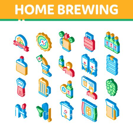 Home Brewing Beer Icons Set Vector. Isometric Barrel And Bottle, Hops And Malt, Faucet And Opener Home Brewing Alcoholic Drink Illustrations Иллюстрация