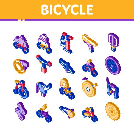 Bicycle Bike Details Icons Set Vector. Isometric Mountain Bicycle Wheel And Seat, Brake And Frame, Chain And Pump Equipment Illustrations