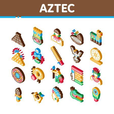 Aztec Civilization Icons Set Vector. Isometric Aztec Antique Pyramid And Gold, Bird And Animal, Cozcacuauhtli And Mystic Totem Illustrations Çizim