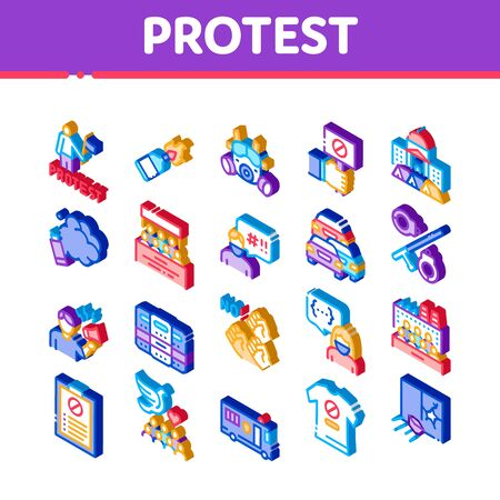 Protest And Strike Icons Set Vector. Isometric Plant Workers Protest, Respiratory Mask And Burning Liquid Bottle, Police Tool And Van Illustrations Ilustração