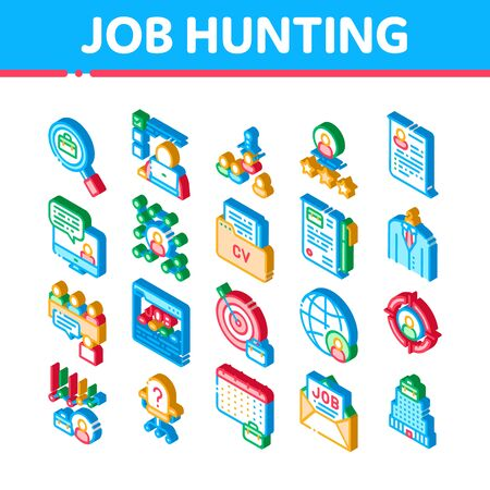 Job Hunting Elements Vector Icons Set. Isometric Hunting Business People And Recruitment Candidate, Team Work And Partnership Illustrations