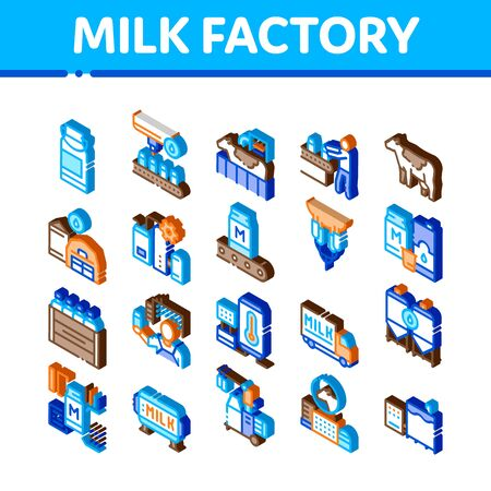Milk Factory Product Icons Set Vector. Isometric Cow And Milk In Can, Conveyor And Plant, Bottle And Package, Truck Delivery And Machine Illustrations Иллюстрация