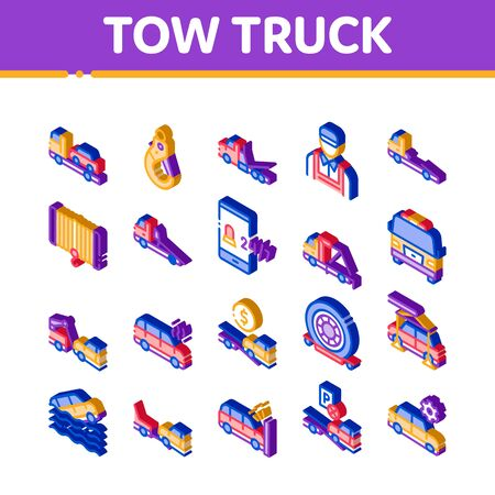 Tow Truck Transport Icons Set Vector. Isometric Tow Truck Evacuating And Transportation Broken Car, Winch And Hook Illustrations Banco de Imagens - 148174368