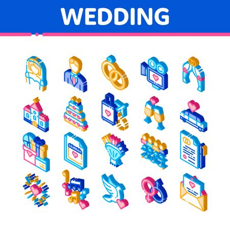 Wedding Vector Icons Set. Isometric Bride And Groom, Rings And Limousine Wedding Elements Pictograms. Church And Arch, Fireworks And Dancing Illustrations