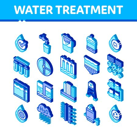 Water Treatment Items Vector Icons Set. Isometric Filter And Cleaning System Water Treatment Elements From Microbe Germs Pictograms. Rain Cloud And Pump Station Illustrations