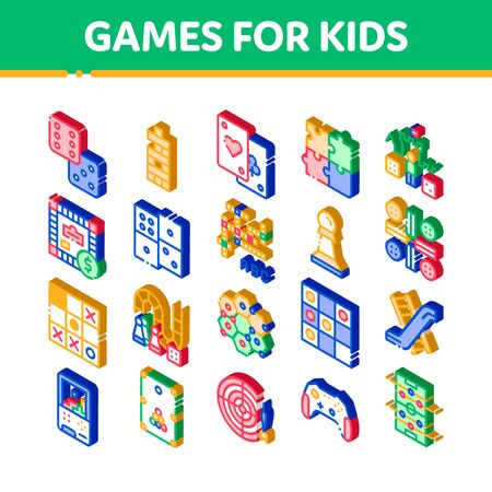 Interactive Kids Games Vector Icons Set. Isometric Domino, Chess And Video Games Controller Pictograms. Cards, Billiard, Darts Illustrations