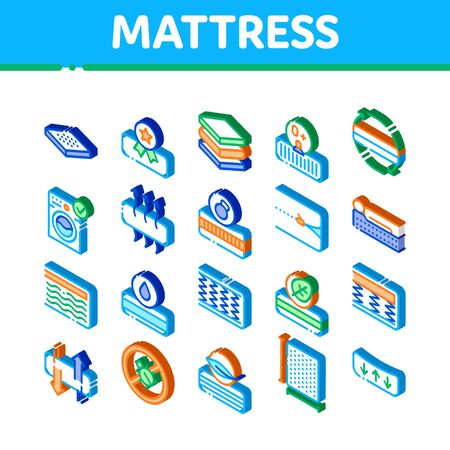 Mattress Orthopedic Icons Set Vector. Isometric Bedding Soft Mattress With Memory For Support Healthy Spine From Foam Material Illustrations 일러스트