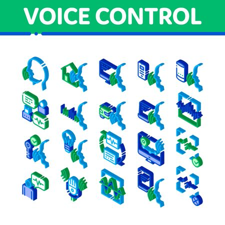 Voice Control Elements Icons Set Vector. Isometric Voice Controlling Smart House And Car, Laptop And Smartphone Illustrations