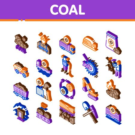 Coal Mining Equipment Icons Set Vector. Isometric Coal Truck Delivery And Conveyer, Helmet And Jackhammer, Excavator And Factory Illustrations
