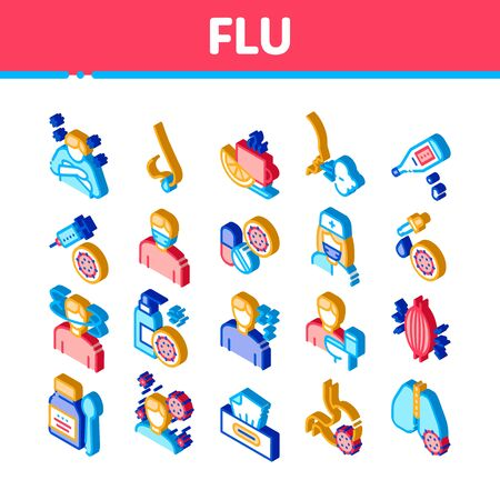 Flu Symptoms Medical Icons Set Vector Chills And Fever, Cough And Runny Nose, Flu Virus In Lungs And Stomach Illustrations