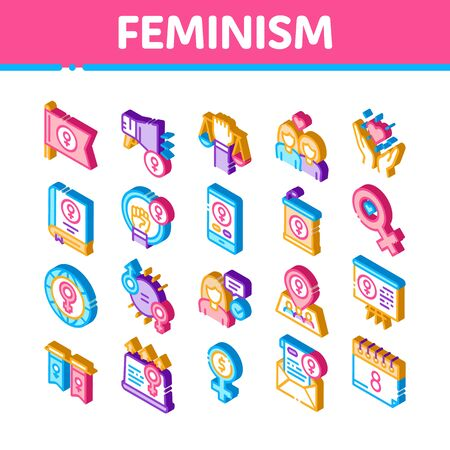 Feminism Woman Power Icons Set Vector. Isometric Feminism Symbol On Flag And Gps Mark, Lesbians And Hand Hold Scales, Equality And Love Illustrations Иллюстрация