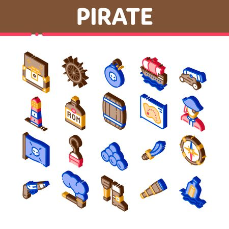 Pirate Sea Bandit Tool Icons Set Vector. Isometric Pirate Saber And Spyglass, Steering Rudder, Crossed Bones And Skull Flag Illustrations Illustration