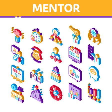 Mentor Relationship Icons Set Vector. Isometric Human Holding Key And Gear, Stopwatch And Mountain With Flag, Mentor Illustrations